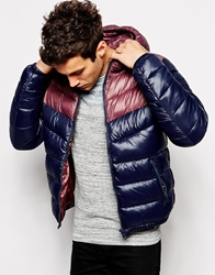 United Colors Of Benetton Hooded Padded Jacket With Contrast Yoke Navy