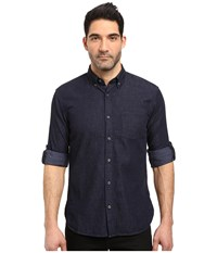 John Varvatos Slim Fit Button Down Collar Sport Shirt W Roll Up Sleeve And Single Chest Pocket Short Hem Length W530s3b Indigo Men's Clothing Blue