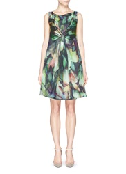 Armani Collezioni Drape Knot Print Silk Charmeuse Dress Green
