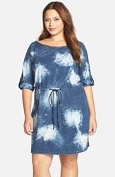 Plus Size Women's Standards And Practices 'Betsy' Bleach Splashed Jersey Drawstring Dress