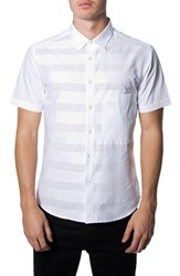Men's 7 Diamonds 'Bright Lines' Trim Fit Short Sleeve Woven Shirt