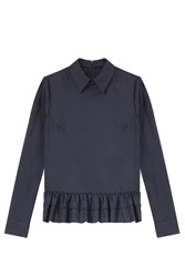 Twisty Parallel Universe Ruffle Hem Collar Blouse