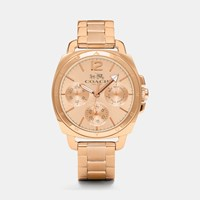 Coach Boyfriend Small Rose Gold Plated Multifunction Bracelet Watch Rosegold