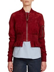 Cedric Charlier Suede Bomber Jacket Red
