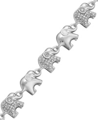 Macy's Sterling Silver Plated Diamond Accent Linked Elephant Charm Bracelet