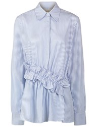 Victoria By Victoria Beckham Blue Cotton Pinstripe Ruffle Shirt Striped