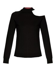 Osman Cut Out Shoulder Wool Knit Sweater Black