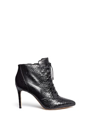 Alexandre Birman 'Mally' Python Leather Stiletto Boots Black Animal Print