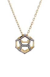 Noor Fares 18K Gold Dodecohedron Pendant Necklace With White Diamonds