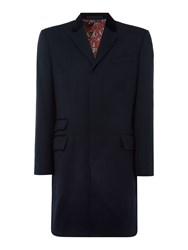 New And Lingwood Leyburn Epsom Coat With Velvet Top Collar Navy