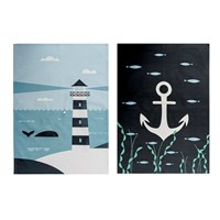 Magpie Ahoy Tea Towel Set Of 2 Lighthouse And Anchor
