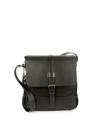 John Varvatos U.S.A. Leather Trimmed Nylon Crossbody Black