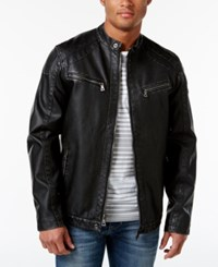 Inc International Concepts Men's Faux Leather Zip Front Moto Jacket Only At Macy's Onyx