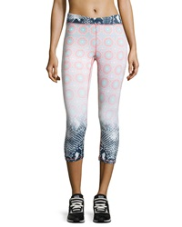 Charlie Jade Mix Print Cropped Leggings Peach Ombre Dots