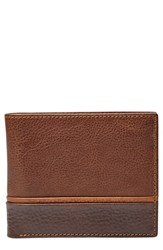 Men's Fossil 'Ian' Bifold Leather Wallet Brown