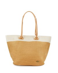 Capelli Of New York Cappelli Striped Trim Straw Tote Bag Toast
