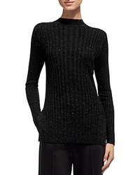 Whistles Sparkle Rib Knit Sweater Black