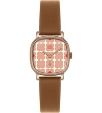Orla Kiely Ok2056 Iris Leather And Stainless Steel Watch Pink