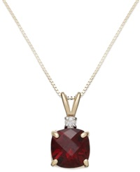 Macy's 14K Gold Garnet 1 7 8 Ct. T.W. And Diamond Accent Pendant Necklace