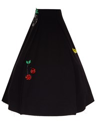 Natasha Zinko Black Fruit Embroidered Ball Skirt