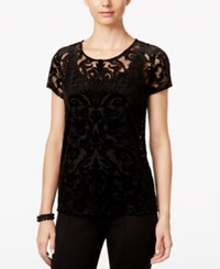 Inc International Concepts Burnout Short Sleeve Top Only At Macy's Deep Black