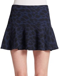 Essentiel Antwerp Leopard Print A Line Mini Skirt Navy
