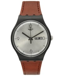Swatch Unisex Swiss Power Tracking Brown Leather Strap Watch 41Mm Suob721 No Color