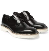 Alexander Mcqueen Polished Leather Derby Shoes Black