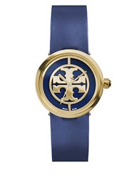 Tory Burch Reva Logo Dial Leather Strap Watch Navy Blue