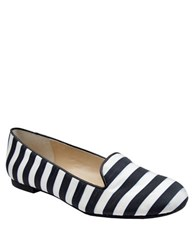 Adrienne Vittadini Mayes Fabric Smoking Flats Navy White