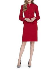 Tahari By Arthur S. Levine Plus Stand Collar Zip Jacket And Skirt Suit Vintage Red