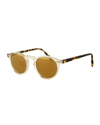 Gregory Peck Round Plastic Sunglasses Brown Tortoise Oliver Peoples
