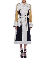 Lanvin Long Sleeve Colorblock Trenchcoat Multi Multi Color