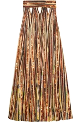 Givenchy Sequin Embellished Cutout Printed Jersey Maxi Skirt