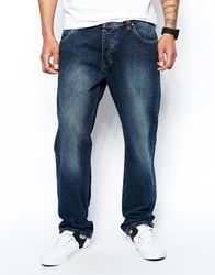 Asos Loose Jeans In Mid Wash Blue