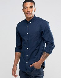 Pull And Bear Pullandbear Oxford Shirt In Navy Blue In Regular Fit Navy Blue