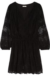 Joie Bittern Lace Paneled Silk Chiffon Mini Dress Black