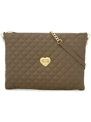 Love Moschino Large Quilted Clutch Grey