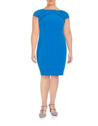 Adrianna Papell Plus Pleated Knit Sheath Dress Blue