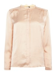 Y.A.S Long Sleeve Sheer Panel Blouse Light Pink