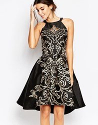 Chi Chi London Full Midi Prom Dress With Embroidery And Cutwork Blackgold