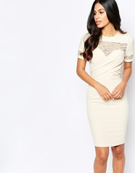 Paper Dolls Pencil Dress With Lace Sleeves Cream