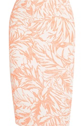 Matthew Williamson Cotton Blend Jacquard Pencil Skirt Orange