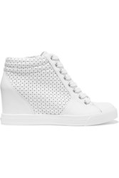 Dkny Cindy Perforated Leather Wedge Sneakers White