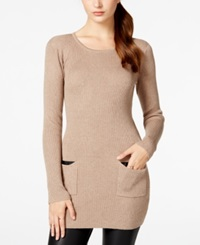 Amy Byer Bcx Juniors' Rib Knit Sweater Dress With Pockets Taupe