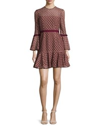 Cinq A Sept Cossette Lace Bell Sleeve Dress Mulberry Pink Sal