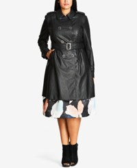 City Chic Trendy Plus Size Faux Leather Trench Coat Black