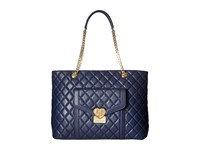 Love Moschino Quilted Tote With Chain Navy Tote Handbags