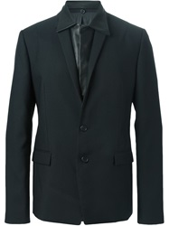 Juun.J Detachable Leather Panel Blazer Black