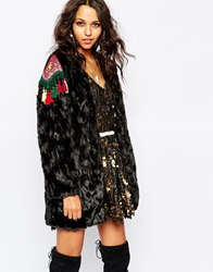 Native Rose Out Of Mongolia Faux Fur Longline Coat With Embroidered Epaulettes Black